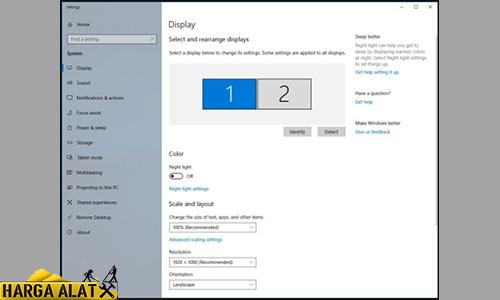 Jendela pengaturan tampilan akan muncul di layar desktop